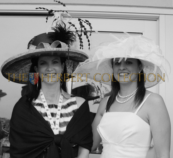 """Guest and our hostess, Diane Schoen wearing a hat designed by Carol Bader of the Del Mar Hat Company  <a href=""""http://www.delmarhat.com"""">http://www.delmarhat.com</a>"""