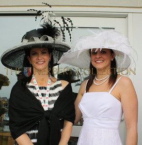 Guest and our hostess, Diane Schoen wearing a hat designed by Carol Bader of the Del Mar Hat Company www.delmarhat.com