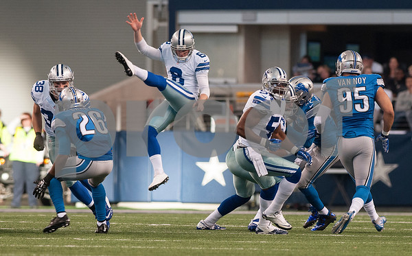 photo by Sarah A. Miller/ Tyler Morning Telegraph   Dallas Cowboys' Chris Jones kicks Sunday Jan. 4, 2015 during their game against the Detroit Lions at AT&T Stadium in Arlington, Texas. The Cowboys beat the Detroit Lions, 24-20.