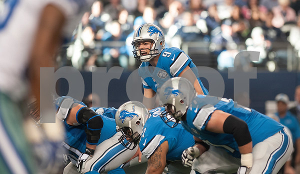 photo by Sarah A. Miller/ Tyler Morning Telegraph  Detroit Lions quarterback Matthew Stafford calls out to his teammates during their game against the Dallas Cowboys Sunday Jan. 4, 2015 at AT&T Stadium in Arlington, Texas. The Cowboys beat the Detroit Lions, 24-20.
