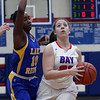 Bay's Haley Andrejcak drives past Michaela Harrison of Lake Ridge to the basket during the second quarter. Randy Meyers -- The Morning Journal