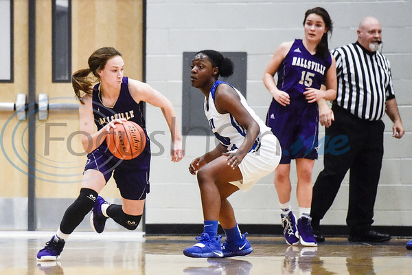 Hallsville's Mallory Pyle (2) dribbles the ballas John Tyler's Keirstyn Ross (10) guards her during a high school basketball game at Boulter Middle School in Tyler, Texas, on Friday, Jan. 4, 2019. (Chelsea Purgahn/Tyler Morning Telegraph)