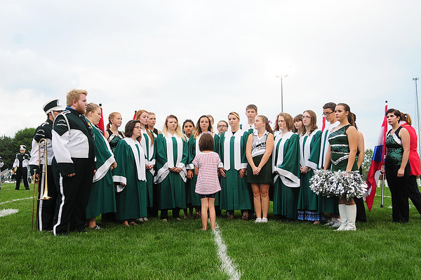Laurel's senior high chorus directed by Kristen Clingerman performs the National Anthem as part of a special program recognizing the 15th anniversary of 9/11.