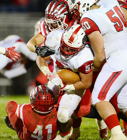 Mohawk's Parker Lyons top and Cam DeGaton bottom take down Freedom's ball carrier.