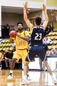 Tyler Junior College's Jason Bush (22) looks to pass the ball as Coastal Bend's Peyton Hardin (23) guards him during a college basketball game at Tyler Junior College in Tyler, Texas, on Monday, Jan. 7, 2019. (Chelsea Purgahn/Tyler Morning Telegraph)