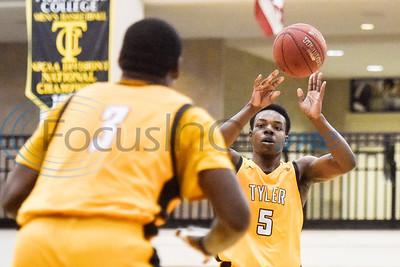 Tyler Junior College's Cameron Johnson (3) awaits teammate's Jonathan Bryant's (5) pass during a college basketball game at Tyler Junior College in Tyler, Texas, on Monday, Jan. 7, 2019. (Chelsea Purgahn/Tyler Morning Telegraph)