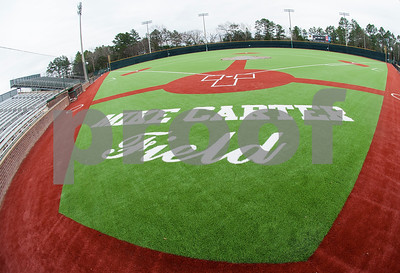 The new turf at Mike Carter Field is pictured Wednesday Jan. 6, 2016. Mike Carter Field is the home baseball field Robert E. Lee and John Tyler High Schools as well as Tyler Junior College.   (Sarah A. Miller/Tyler Morning Telegraph)