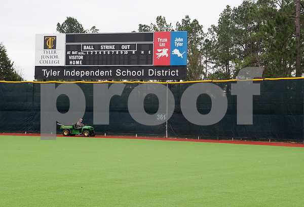 The new turf at Mike Carter Field extends all the way to the outfield. Mike Carter Field is the home baseball field Robert E. Lee and John Tyler High Schools as well as Tyler Junior College.   (Sarah A. Miller/Tyler Morning Telegraph)