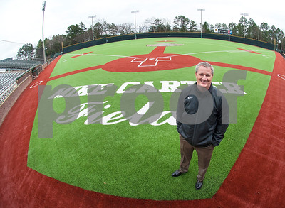 Tyler ISD athletic director Greg Priest stands on the new turf at Mike Carter Field Wednesday Jan. 6, 2016. Mike Carter Field is the home baseball field Robert E. Lee and John Tyler High Schools as well as Tyler Junior College.   (Sarah A. Miller/Tyler Morning Telegraph)