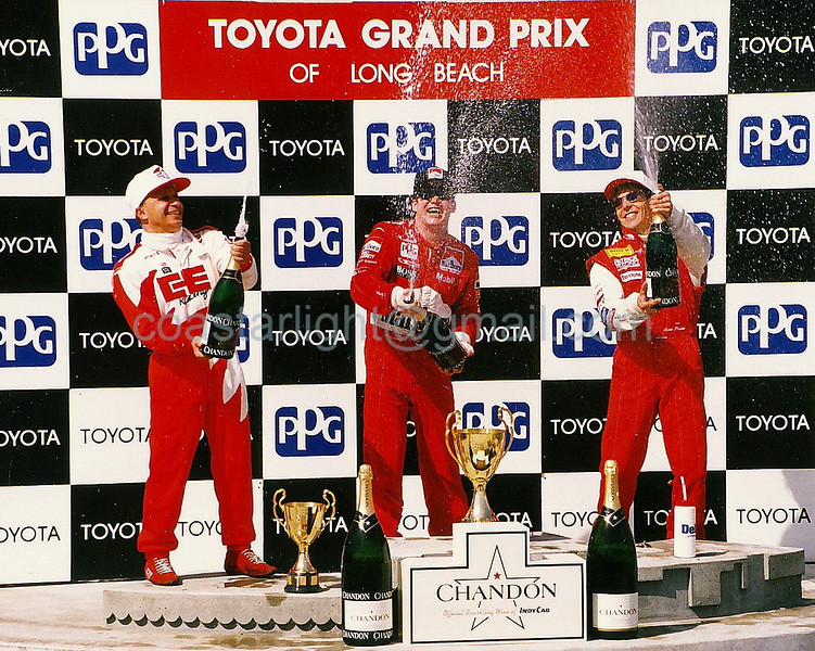 Teo Fabi (3rd), Al Unser Jr. (1st), Scott Pruett (2nd) - 1995 Long Beach GP