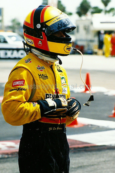 Gil de Ferran after crash with Paul Tracy - 1995 Long Beach GP