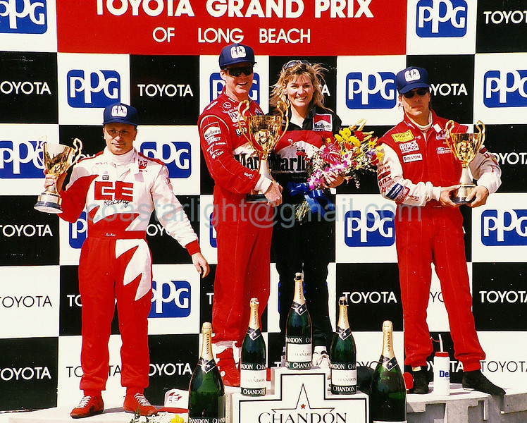 Teo Fabi (3rd), Al Unser Jr. (1st), Scott Pruett (3rd) - 1995 Long Beach GP