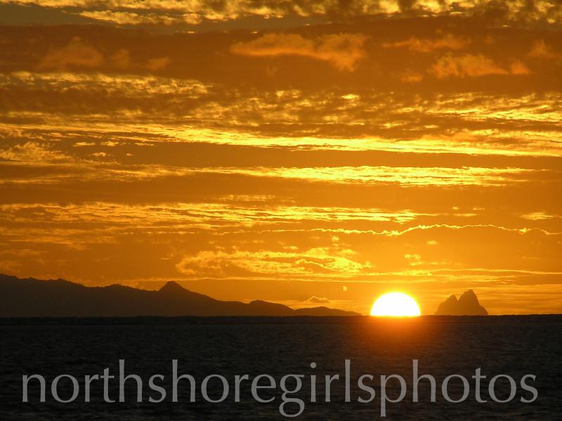 Sunset Raiatea and Bora Bora Tahiti