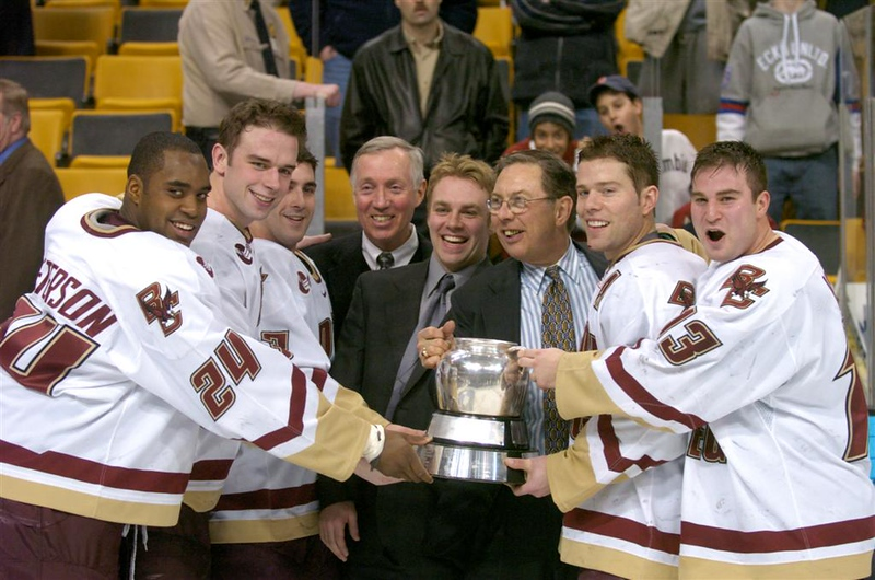 Coach Jerry York, fourth from left, with the seniors of the team