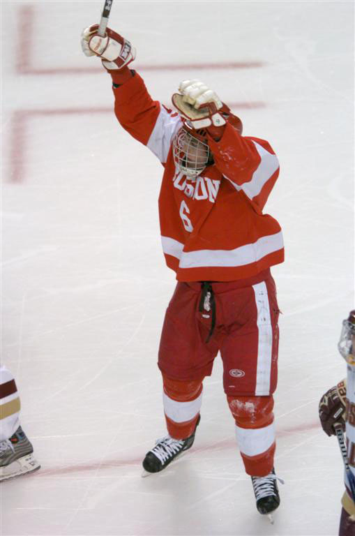 Kenny Roche celebrates his goal in the first period that put BU up 1-0
