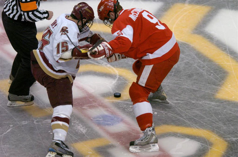 BC's Stephen Gionta faces off against Brian McConnell