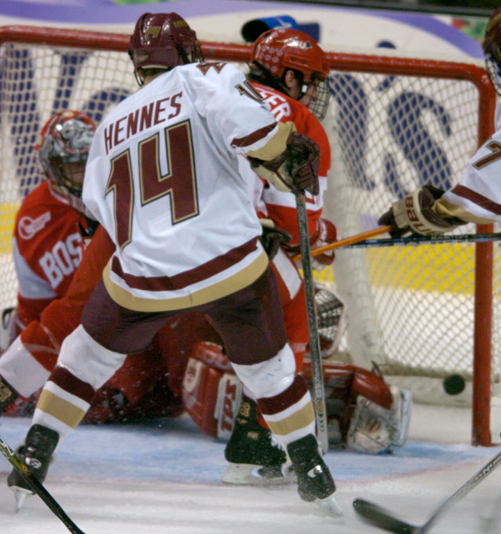 Tyler Hennes finds the back of the net late in the third period to tie up the score