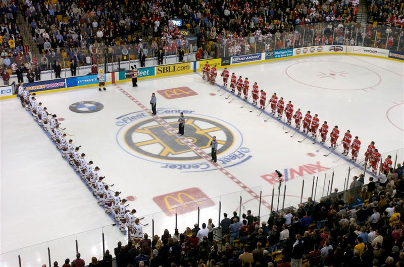 BC and BU players stand for the national anthem
