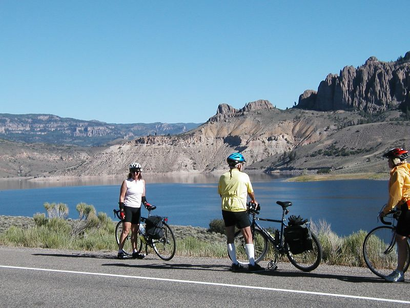 Day 10: Blue Mesa Reservior between Gunnison and Montrose. Fern, Harry, and Susie.