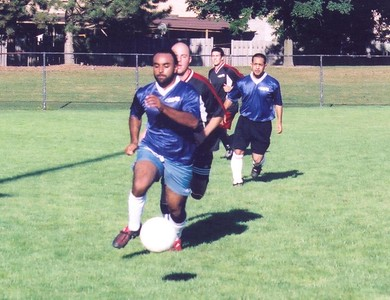 UNKNOWN STRIKERS VS. A-TEAM FC IN DIVISION II PLAYOFF CHAMPIONSHIP - Ikwal Briaana (foreground)