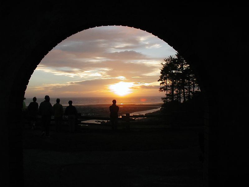 Aug. 18. SUNSET THROUGH THE ARCH AT KALALOCH