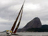 Pirates of the Caribbean sails during the start of the leg 5 of 2005-2006 Volvo Ocean Race; on the background is the Sugar loaf,  Rio de Janeiro, Brazil, April 2, 2006.  (FOTO:AUSTRAL FOTO/RENZO GOSTOLI)