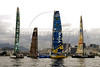From left: ABN AMRO TWO, Pirates of the Caribbean, BRAZIL ONE and MOVISTAR boats  line-up at start of the leg 5 of 2005-2006 Volvo Ocean Race,  Rio de Janeiro, Brazil, April 2, 2006.  (FOTO:AUSTRAL FOTO/RENZO GOSTOLI)