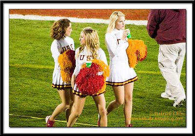 SC cheerleaders taking a break.