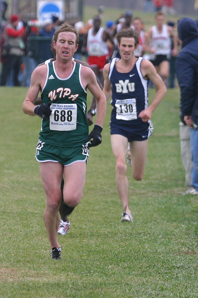 At about the 4.5 mile mark: #688 Westly Keating, Texas Pan American 5th place finisher overall; #130 Josh Rohatinsky, Brigham Young 6th place finisher overall.