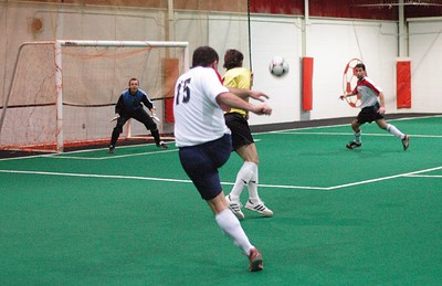 George Araya (#15) fires his cannon while representing ARMADA I in the WINTER INDOOR DIVISION I CHAMPIONSHIP FINAL versus BARCELONA.