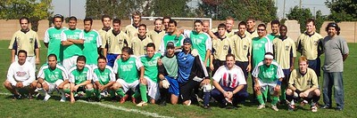 """BROTHERHOOD"":  BAS CUP CHAMPIONSHIP PRE-GAME SHOT:  ARMADA I (gold) vs. SUR LATINO (green), Oct 2/2005 at Victoria Park Stadium"