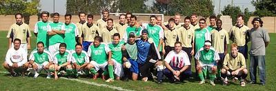 """BROTHERHOOD"":  BAS CUP CHAMPIONSHIP PRE-GAME SHOT:  ARMADA I (gold) vs. SUR LATINO (green), Oct 2/2005 at Victoria Park Stadium"