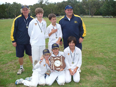 Winners of the Keith Mitchell Shield U/12's E.C.A. Representatives from GICC Back : Adam Lane (Coach), Lachlan Holmes, Edward Von Moger, Hayden Joyce (Coach) Front : Charlie Haley, Sam Murray, Tom Jordan