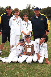 Winners of the Keith Mitchell Shield U/12's E.C.A. Representatives from GICC Back : Adam Lane (Coach), Lachlan Holmes, Edward Von Moger, Hayden Joyce (Coach) Front : Charlie Harley, Sam Murray, Tom Jordan