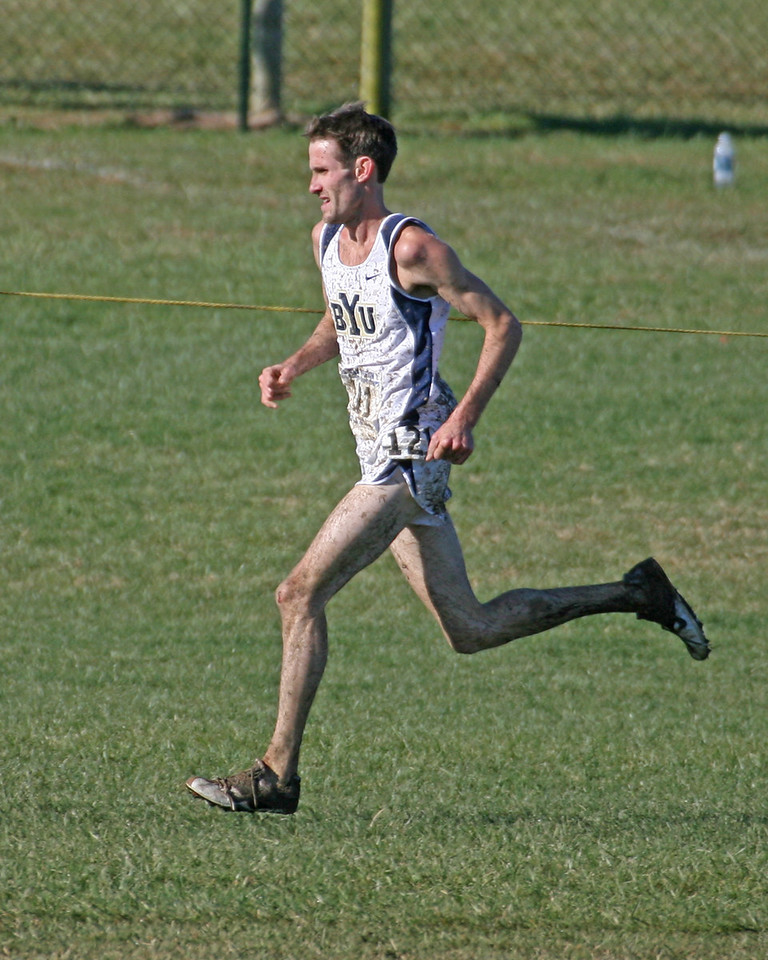 Josh Rohatinsky, BYU overall men's champion.   200 meters from the finish line.