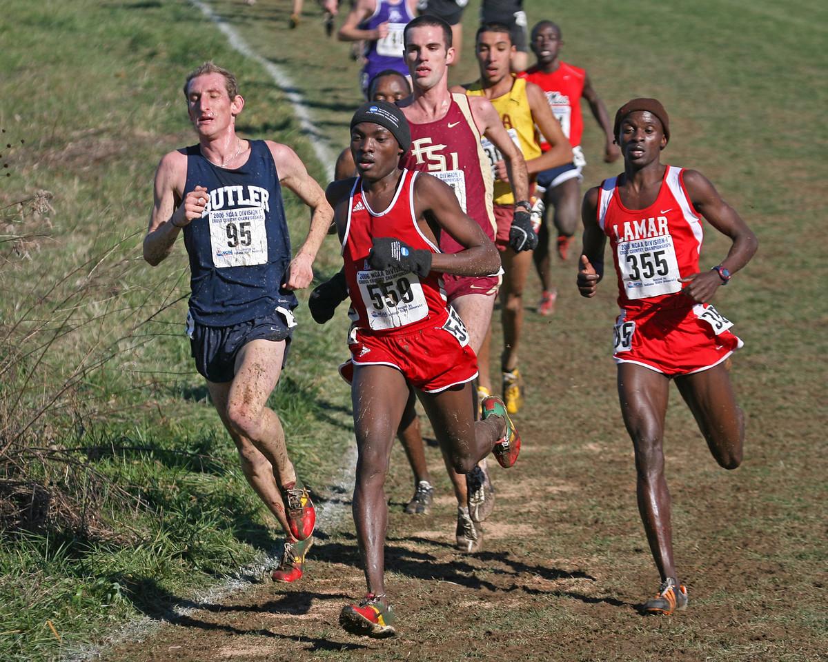#95 Scott Overall; #559 Tonny Okello, South Alabama; #355 Francis Kasagule, Lamar.
