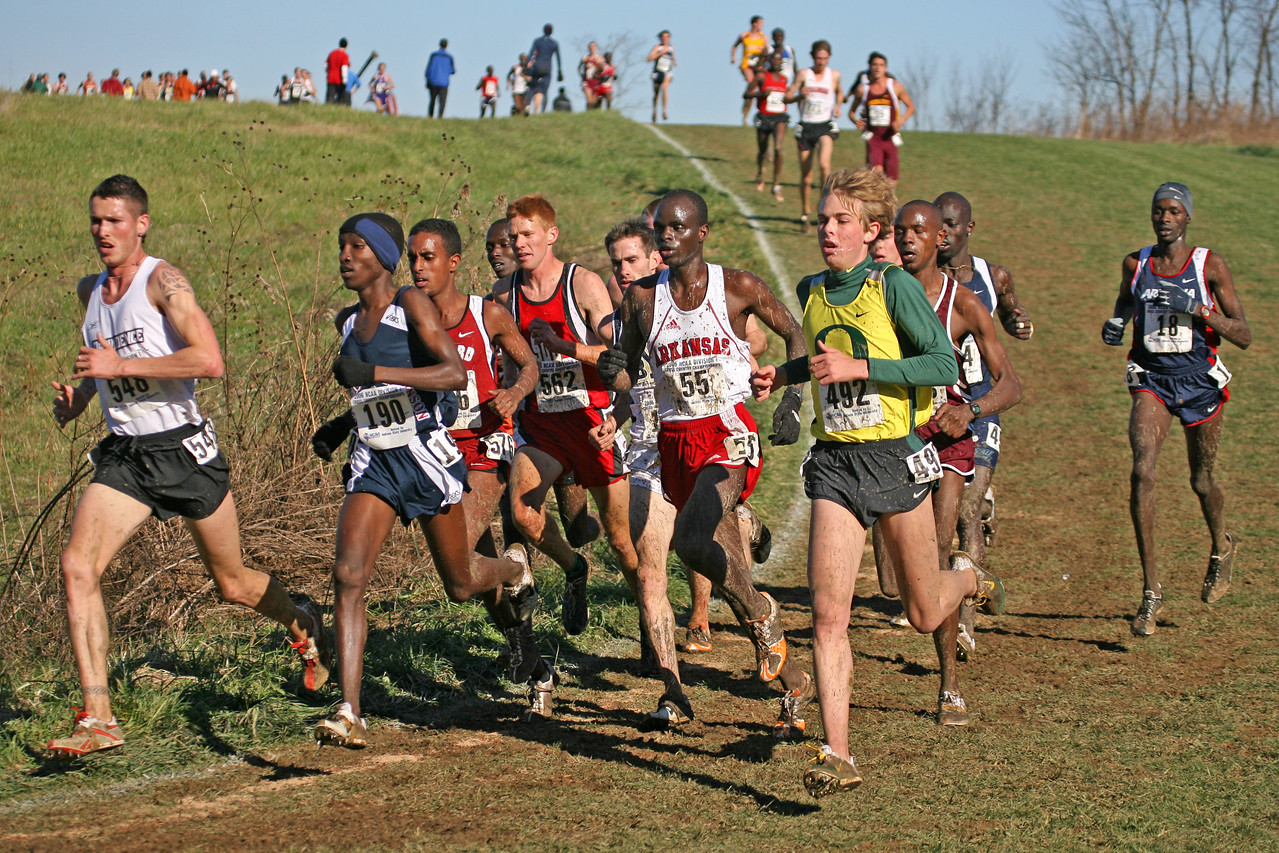 The lead pack photographed just before the 6K.  #548 Martin Fagen, Providence; #190 Sam Chelanga, Fairleigh Dickinson; #576 Neftalem Araia, Stanford; #562 Jess Baumgartner, Southern Utah; #55 Peter Kosgei, Arkansas; #492 Galen Rupp, Oregon; #18 Robert Cheseret, Arizona.  Eventual winner, Josh Rohatinsky, BYU is over right shoulder of Kosgei.  Directly behind Rupp is Jacob Korir, E. Kentucky; Also, in the pack and difficult to see are Josh McDougal, Liberty; and Chris Solinsky, Wisconsin.
