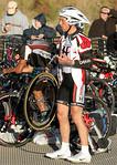Tyler Hamilton getting ready to start the bike leg.