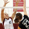 Globe/T. Rob Brown<br /> Joplin's Jessica Hill (23) plays defense against Parkview's (27) during Monday night's game, Oct. 23, 2006, at Joplin.<br /> Section: Sports