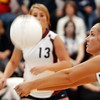 Globe/T. Rob Brown<br /> Joplin's Kelsey Ideker (22) digs the ball as teammate Laken Neal (13) looks on during Monday night's game, Oct. 23, 2006, against Parkview at Joplin.<br /> Section: Sports