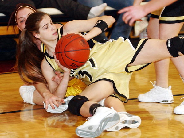 Globe/T. Rob Brown<br /> Neosho's Lorelei Snow (33) looks for an open teammate after she snagged up a loose ball Wednesday night, Feb. 22, 2006, against Parkview during the Class 5 District 12 Basketball Tournament at Joplin High School.<br /> Section: Sports
