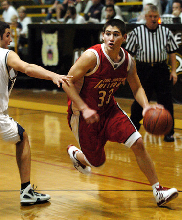 Globe/T. Rob Brown<br /> Carl Junction's Steven Tackett (33) brings the ball down court against a Francis Howell Central defender Wednesday afternoon during the Neosho Holiday Classic, Dec. 27, 2006, at Neosho High School.<br /> Section: Sports