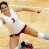 Globe/T. Rob Brown<br /> Webb City's (3) Kayla Gaines goes after a Nixa hit in the first game during the final match of the District 12 Volleyball Tournament Wednesday night, Oct. 25, 2006, at Joplin High School.<br /> Section: Sports