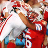 Globe/T. Rob Brown<br /> Webb City High School defender Cody Johnson (76) brings down the Nixa High School ball carrier runningback Justin Burckhamer (36) during Monday night's competition, Nov. 13, 2006, at Webb City.<br /> Section: Sports