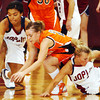 Globe/T. Rob Brown<br /> Joplin's Saysan Jones (31), left, and Morgan Secrist (24)  compete with Waynesville's oanna Pimentell (21) for a loose ball Tuesday night, Jan. 17, 2006, at Joplin High School.<br /> Section: Sports Story: Ryan