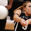 Globe/T. Rob Brown<br /> College Heights Christian School's Ashley Albright (9) attempts to return the ball during the Class 2 District 12 Volleyball Tournament Tuesday night, Oct. 24, 2006, at Diamond High School.<br /> Section: Sports