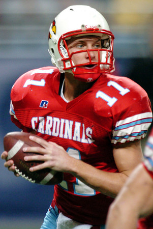 Globe/T. Rob Brown<br /> Webb City's Collin Howard drops back for a pass during the Show Me Bowl in St. Louis Thursday afternoon, Nov. 24, 2006.<br /> Section: Sports