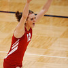 Globe/T. Rob Brown<br /> Webb City's (12) Kelsey Erwin celebrates as Webb City wins the first game against Nixa during the final game of the District 12 Volleyball Tournament Wednesday night, Oct. 25, 2006, at Joplin High School.<br /> Section: Sports