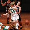 Globe/T. Rob Brown<br /> Pierce City's Danielle Hatfield (40) collides with teammate Jody Lathem (5) and McDonald County's Shaye Buttram (10) as the ball flies loose during Thursday night action, Dec. 28, 2006, during the Neosho Holiday Classic at Neosho Middle School. McDonald County's Tessa Porter (30) comes up from behind.<br /> Section: Sports