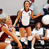 Globe/T. Rob Brown<br /> Joplin's Lindsay Altman (3) digs the ball as teammate Courtney Hutchison (5) looks on during Monday night's game, Oct. 23, 2006, against Parkview at Joplin.<br /> Section: Sports